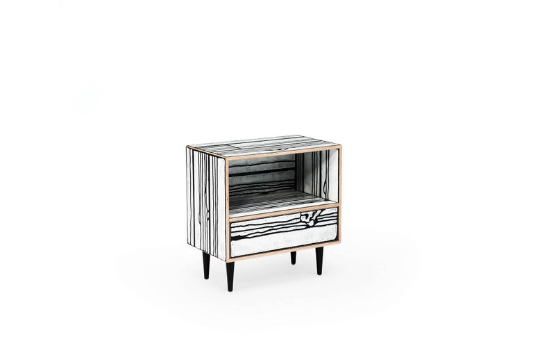 Wrong woods nightstand by Richard Woods & Sebastian Wrong.  The Art of Living Create your masterpiece room by room with the Wrongwoods collection  British artist Richard Woods is renowned for his work with garish and repetitious motifs. He has