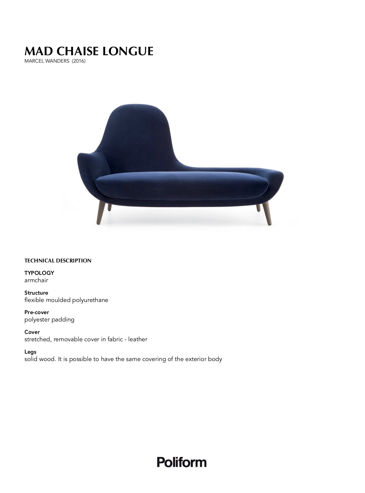 Mad Chaise Longue By Marcel Wanders For Poliform In Fabric Or Leather Sale At 1stdibs