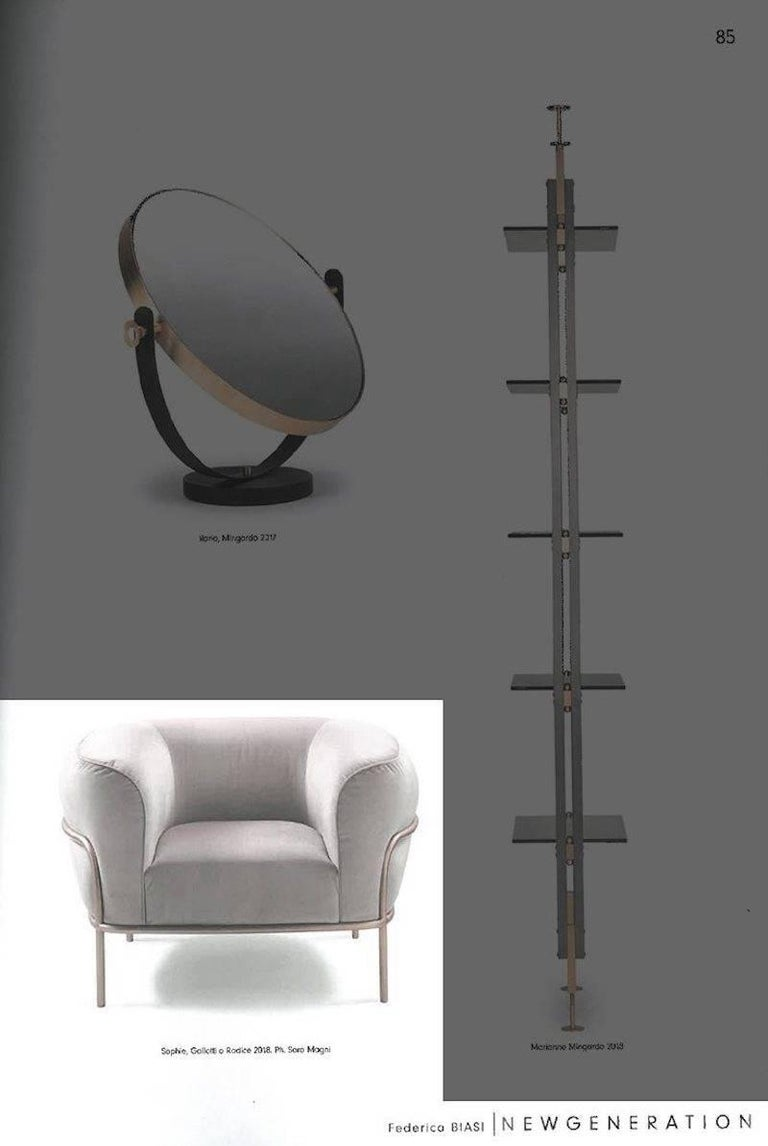 Gallotti & Radice Sophie Armchair in Fabric, Leather or Velvet with Brass Detail In New Condition For Sale In Rhinebeck, NY