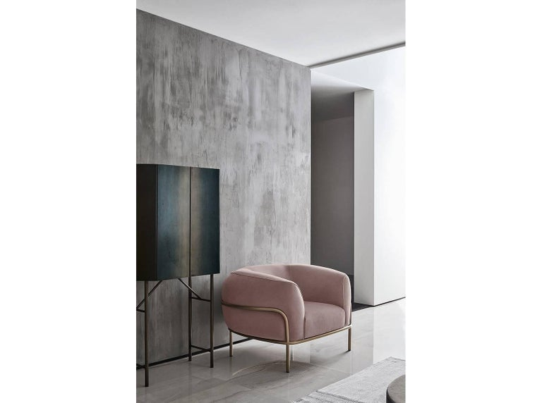 Italian Gallotti & Radice Sophie Armchair in Fabric, Leather or Velvet with Brass Detail For Sale