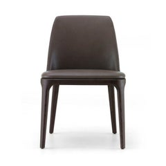 Poliform Grace Dining chair w/o Arms in fabric or leather & solid wood Base
