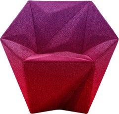 Moroso Gemma Chair by Daniel Liebeskind in Fuchsia and Purple Blur Fabric