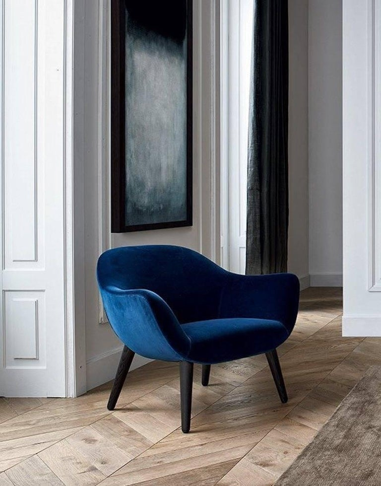 Modern Poliform Mad Armchair by Marcel Wanders in Velvet or Fabric Covering & Wood Legs For Sale