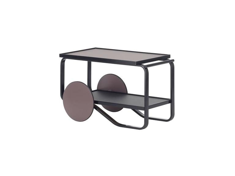 Artek Tea Trolley Bar Cart in Birchwood with Black Top & White Wheels In New Condition For Sale In Rhinebeck, NY