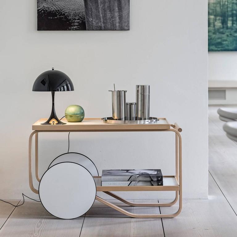 Scandinavian Modern Artek Tea Trolley Bar Cart in Birchwood with Black Top & White Wheels For Sale
