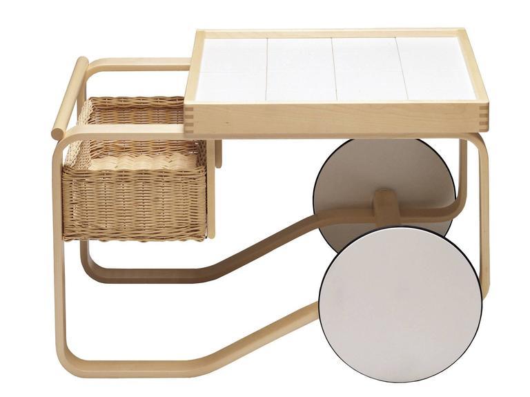 Artek Tea Trolley Bar Cart in Birchwood with Black Top & White Wheels For Sale 3