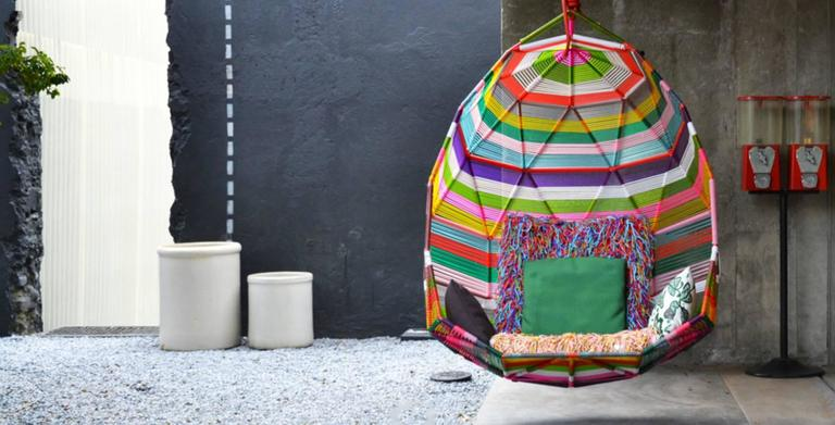 Moroso Tropicalia Cocoon Swing in Multi-Colored Polymer for Outdoor Use 2