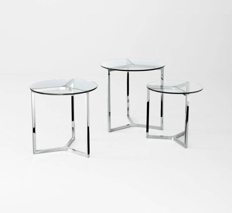 Modern Raj 2 Coffee or Side Table in Glass and Polished Chrome by Gallotti & Radice For Sale