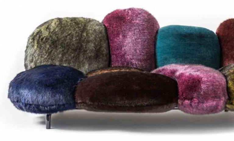 Edra Cipria Sofa In Eco Fur For Sale At 1stdibs