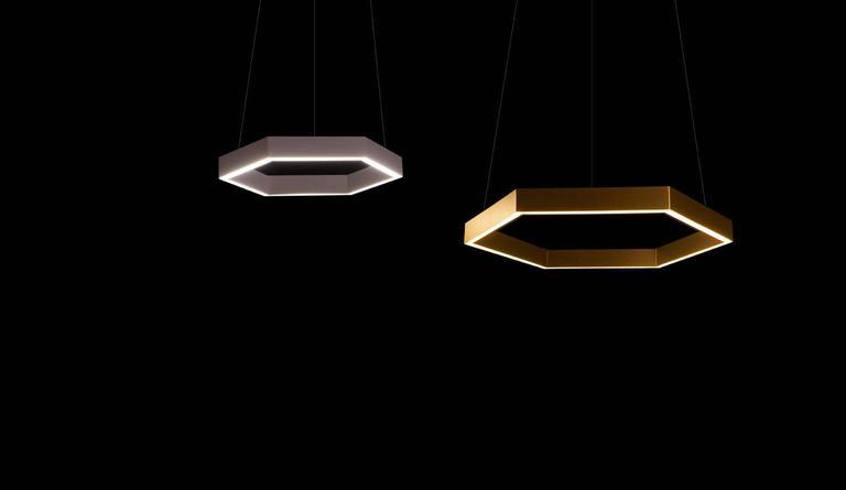 Modern HEX Pendant Light by Resident in Brass, Black or White For Sale