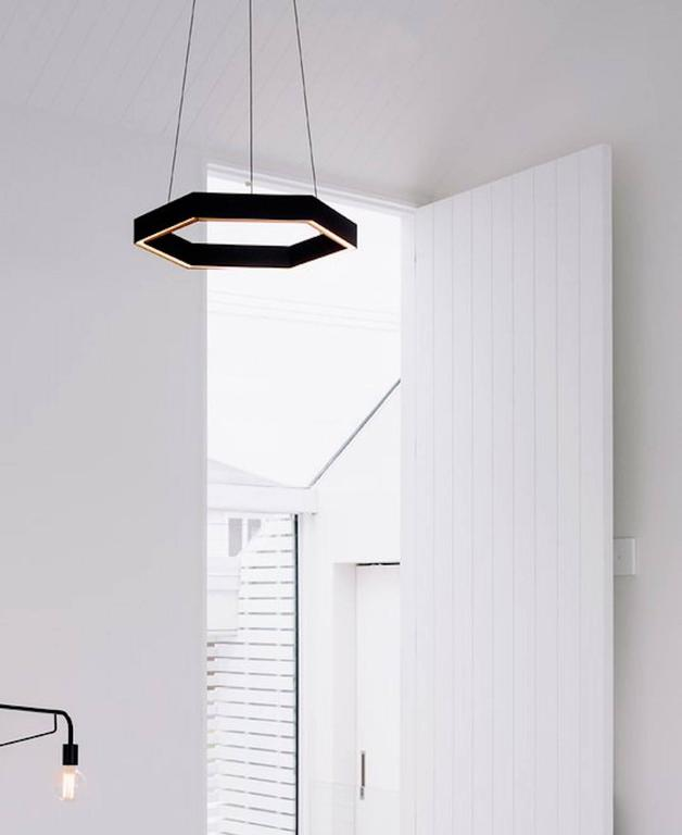 Contemporary HEX Pendant Light by Resident in Brass, Black or White For Sale