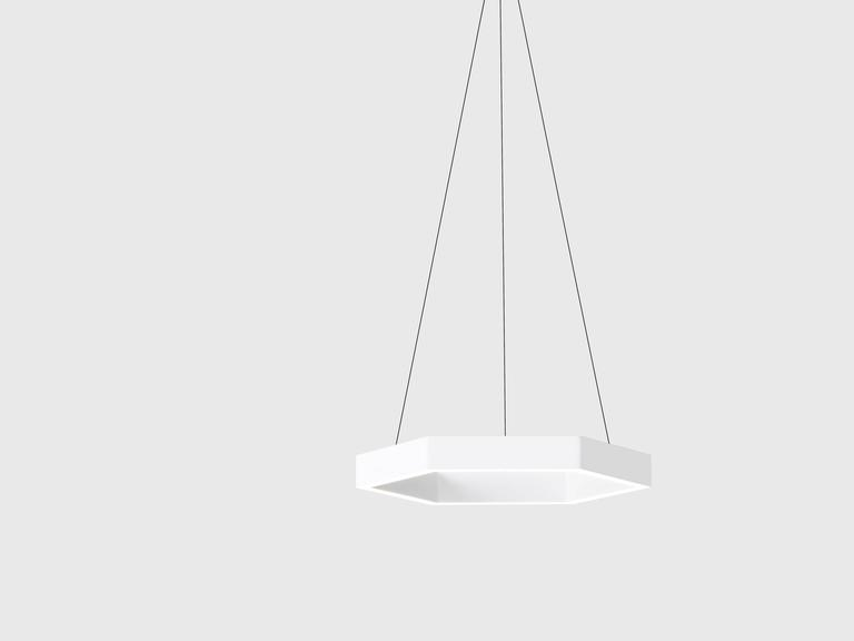 Designed by Resident Studio, Hex is an innovative hexagonal shaped pendant light constructed from aluminum. A modern alternative for home, office or retail spaces.   Hex contains a high quality warm LED light source, which is projected through a