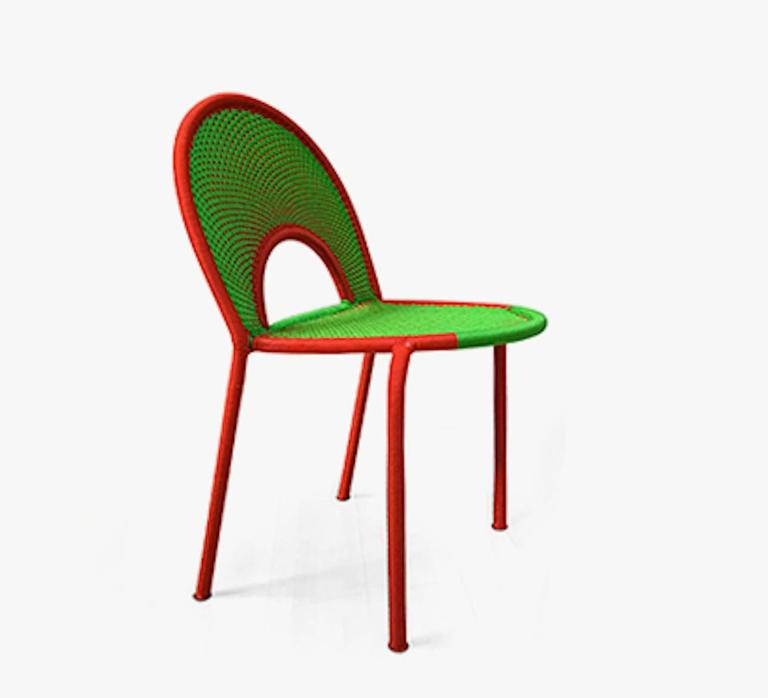 Banjooli is part of the M'Afrique collection, a range of chairs conceived by the designer Sebastian Herkner and produced by African craft weavers using the yarn of fishing nets.   The designs are all different and original, like their names.