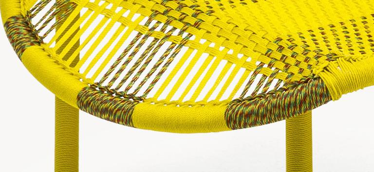 Imba is part of the M'Afrique collection by Italian furniture manufacturer Moroso. Imba was conceived by the designer Federica Capitani and produced by African Craft weavers using the yarn of fishing nets.   The designs are all different and