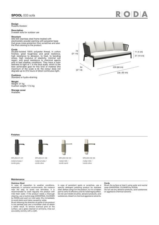 Contemporary RODA Spool three-Seat Sofa for Outdoor/Indoor Use by Rodolfo Dordoni For Sale