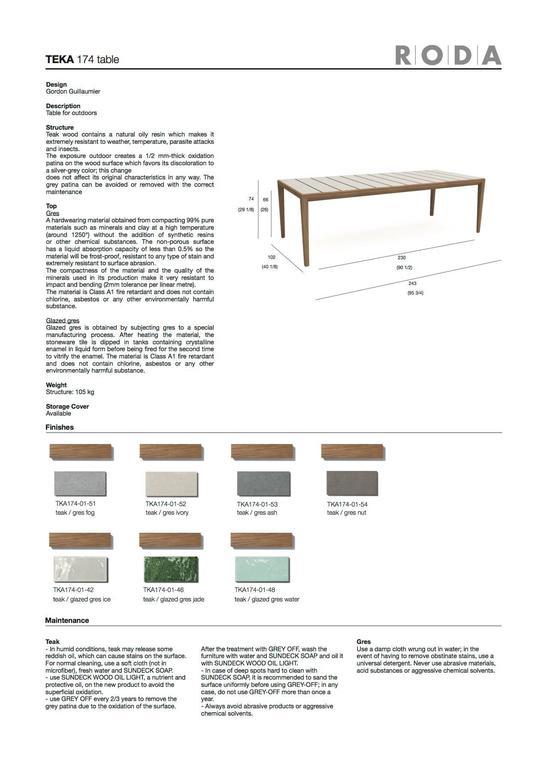 Roda Teka Dining Table for Outdoor/Indoor Use in Teak and Glazed or Matt