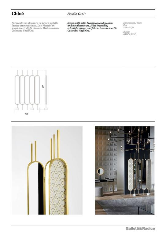 Lacquered Gallotti & Radice Chloé Screen/Mirror in Brass Finish with Fabric Panels For Sale