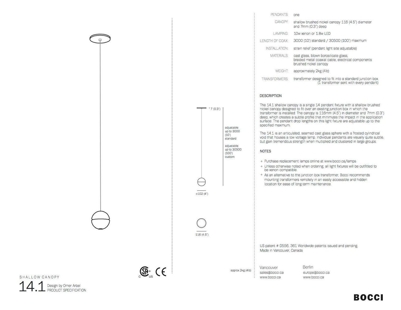 Bocci Len bocci 14 1 single pendant in cast glass with led or xenon bulb for