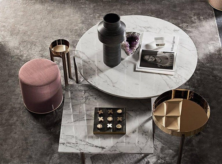 Lou Pouf Ottoman With Brass Details By Gallotti And