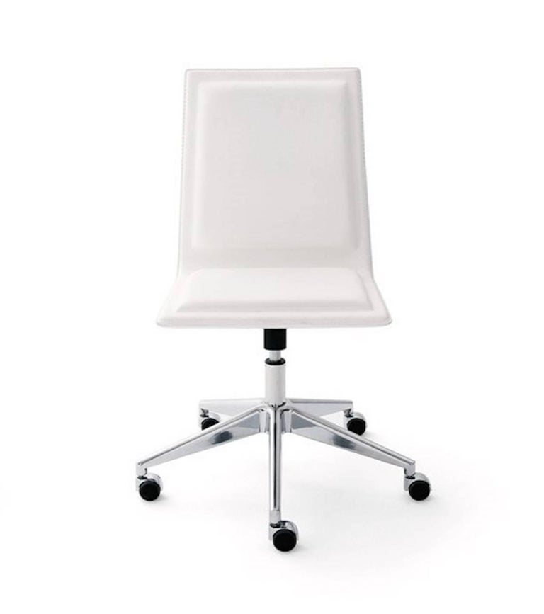 Ergonomic And Elegant Office Task Chair Upholstered Seat Covered With Suede Or Eco