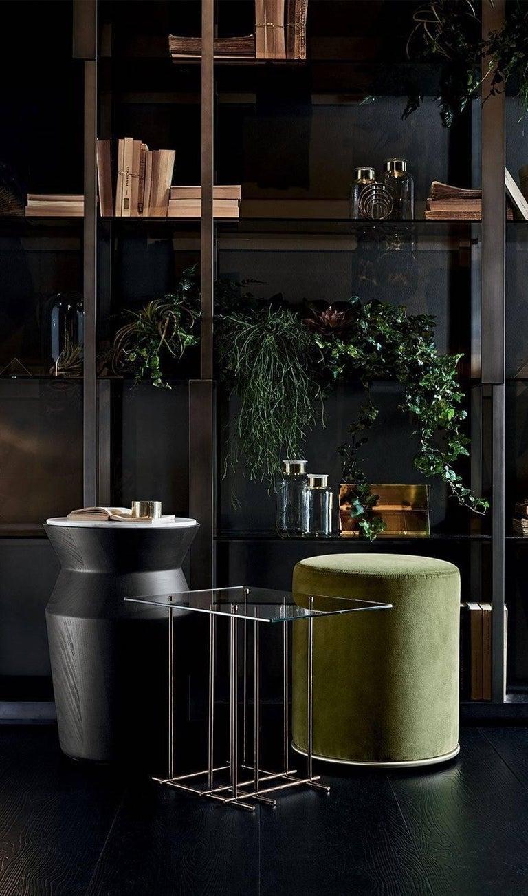 """Side or coffee table in black lacquered solid wood. Top in either smoked """"grigio Italia"""" mirrored top; antiqued mirror or Calacatta Vagli Oro marble.  Various sizes are available:  Cm Ø 38 x 45h S Ø 37 x 55h L  Inches Ø 15 x 17.75 h S  Ø"""
