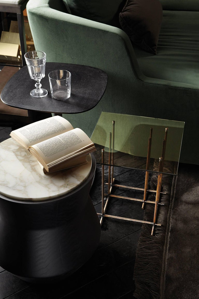 Contemporary Dama Side Table in Solid Wood and Marble by Gallotti & Radice For Sale