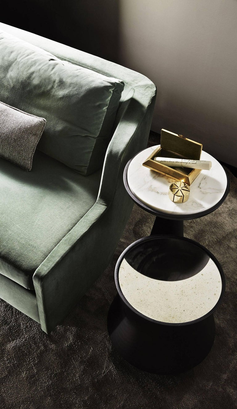 Glass Dama Side Table in Solid Wood and Marble by Gallotti & Radice For Sale