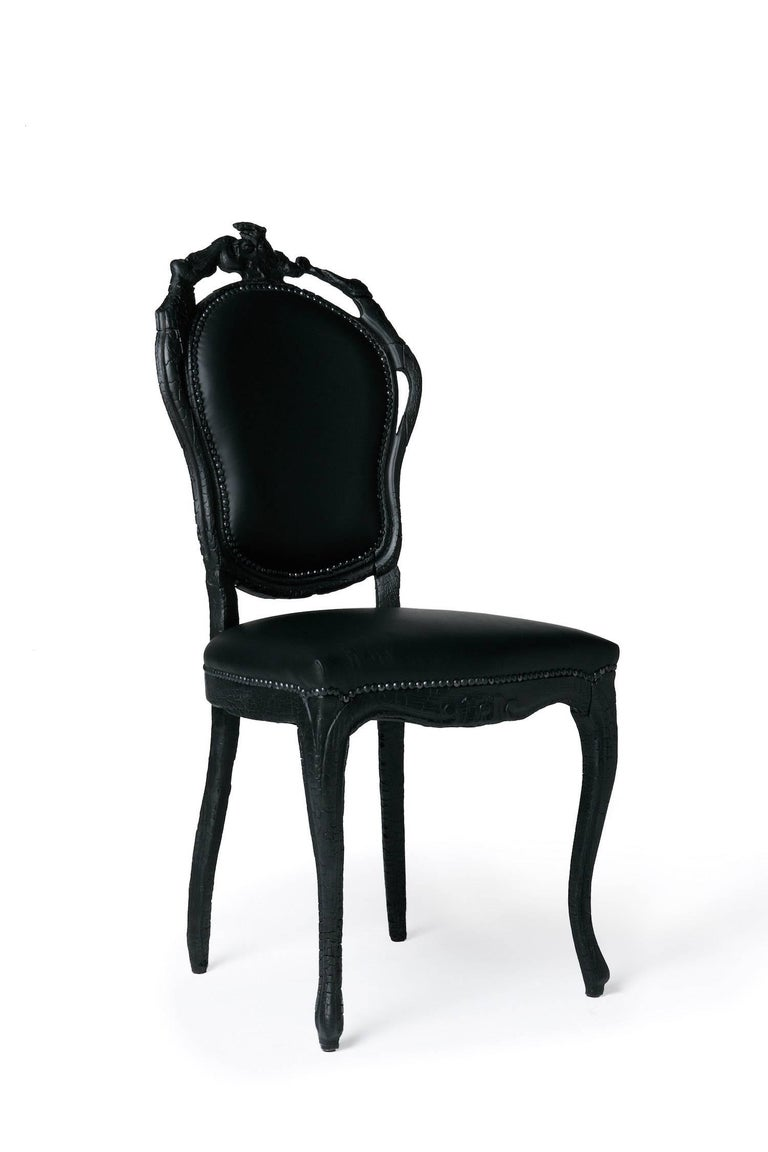 Modern Moooi Smoke Dining Chair in Burnt Wood and Black Epoxy by Maarten Baas For Sale