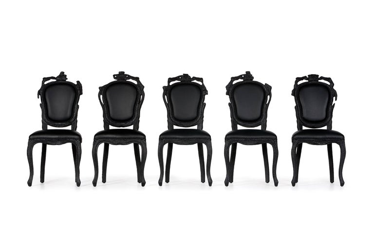 Dutch Moooi Smoke Dining Chair in Burnt Wood and Black Epoxy by Maarten Baas For Sale