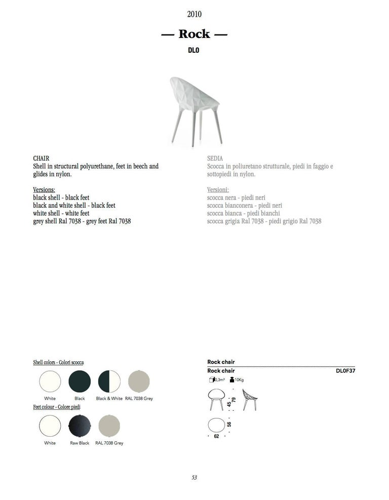 Rock Dining Chair by Diesel for Moroso in Black, White or Grey 8
