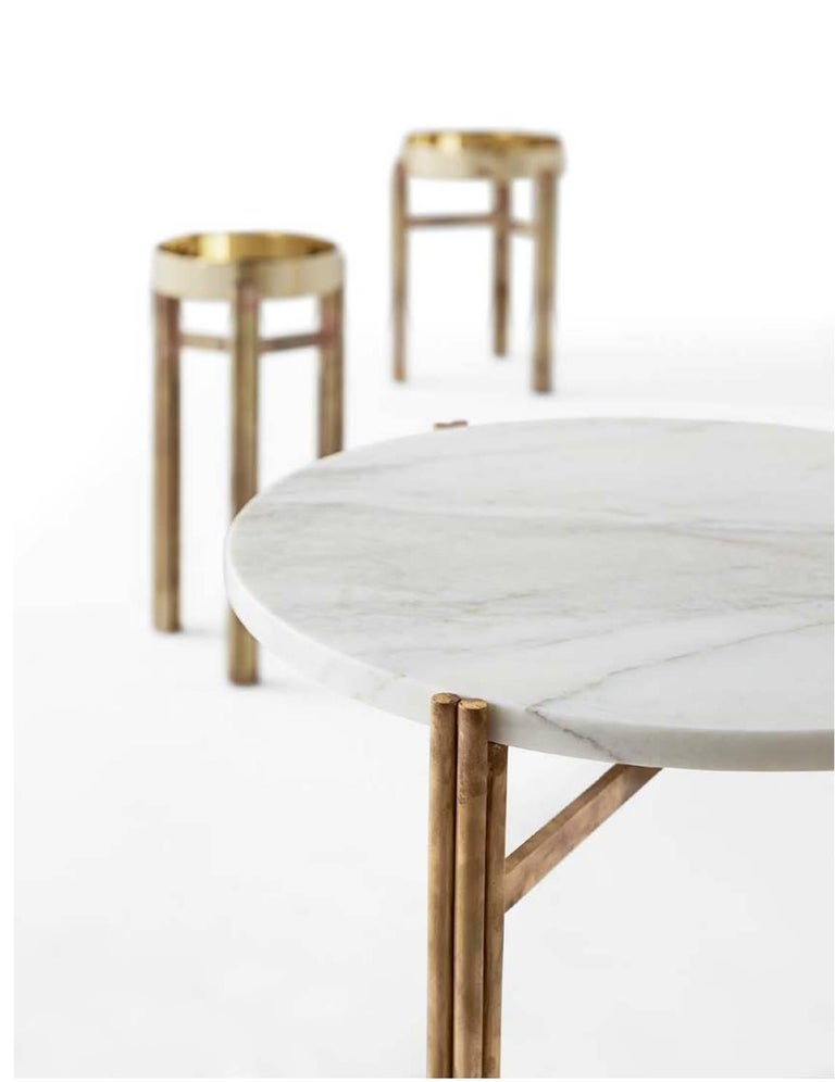 Modern Coffee or Side Table with Hand Burnished Structure and Polished Brass Top For Sale