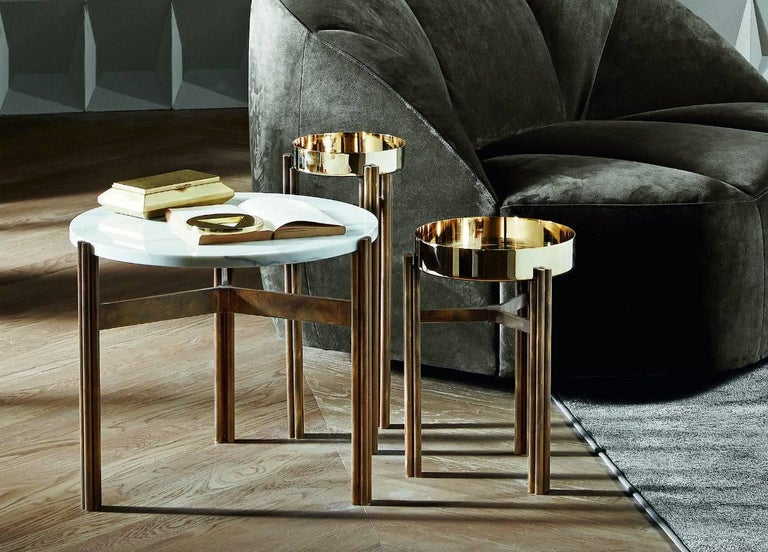 Coffee or Side Table with Hand Burnished Structure and Polished Brass Top For Sale 3