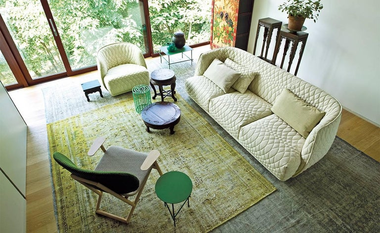 Italian Moroso Redondo Three-Seat Sofa in Tufted Upholstery by Patricia Urquiola For Sale