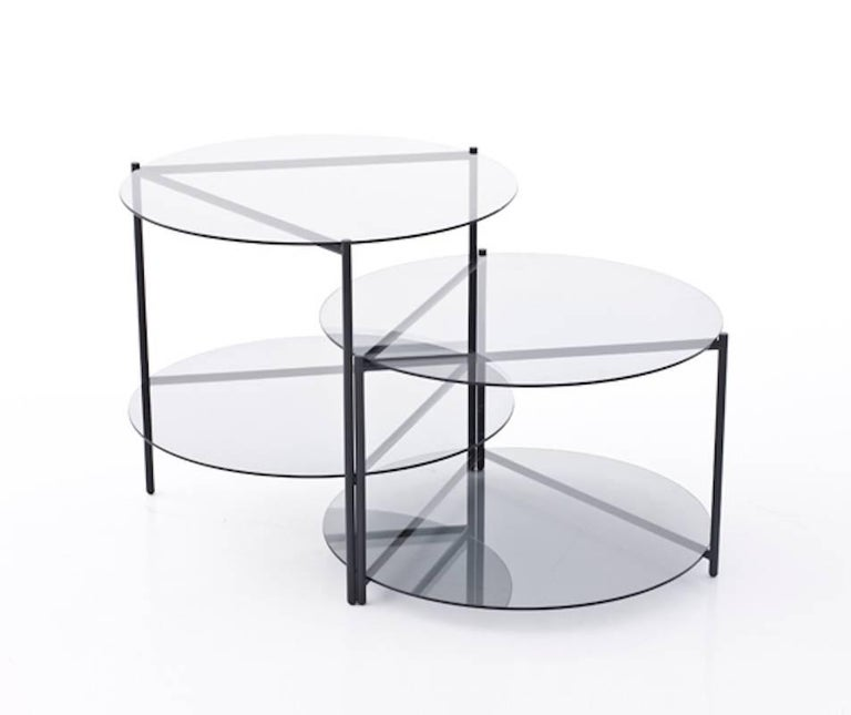 Contemporary Moroso Byobu Coffee or Side Table in Glass and Powder Coated Tubular Steel For Sale