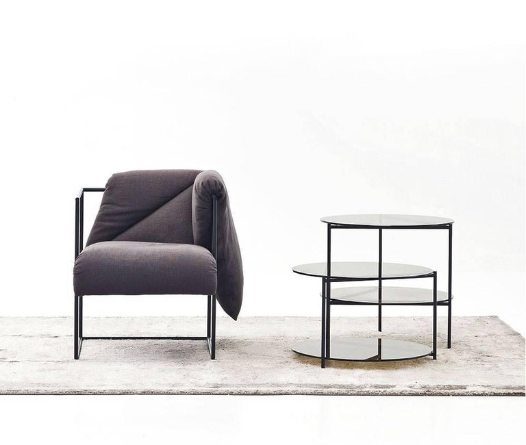Powder-Coated Moroso Byobu Coffee or Side Table in Glass and Powder Coated Tubular Steel For Sale