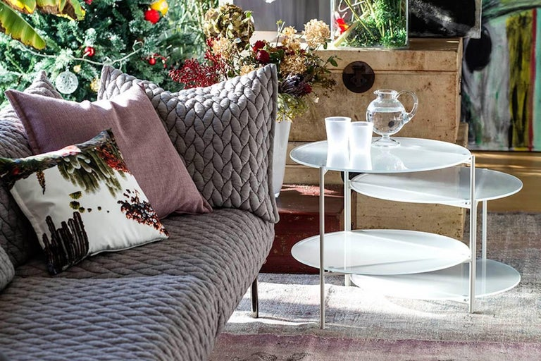 Italian Moroso Byobu Coffee or Side Table in Glass and Powder Coated Tubular Steel For Sale
