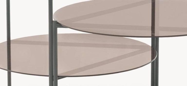 Powder-Coated Moroso Byobu Coffee or Side Table in Glass and Powder Coated Tubular Steel For Sale