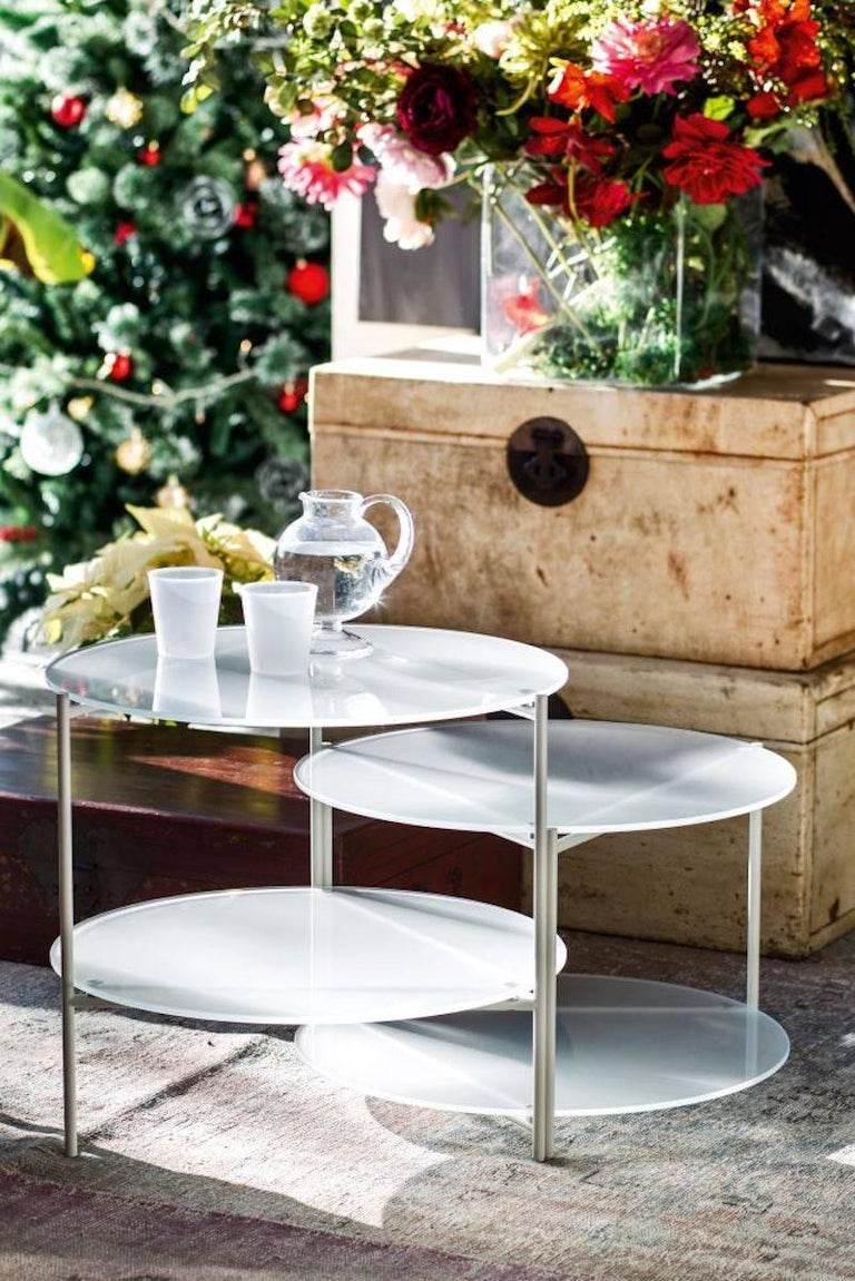 Moroso Byobu Coffee or Side Table in Glass and Powder Coated Tubular Steel For Sale 1