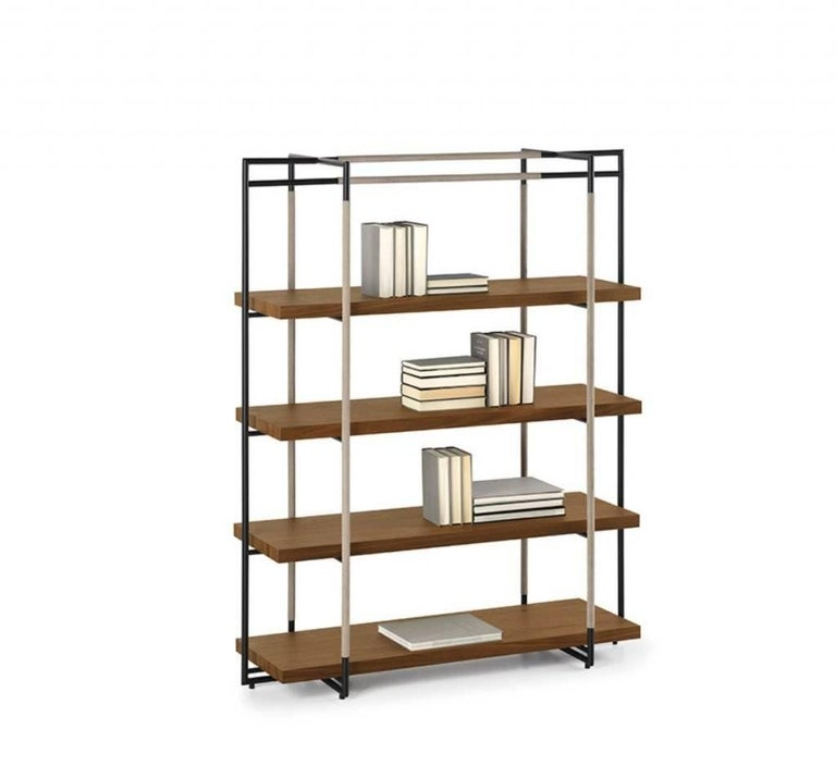 Modern Bak Bookcase by Ferruccio Lavi in Walnut, Steel and Leather in Various Colors For Sale