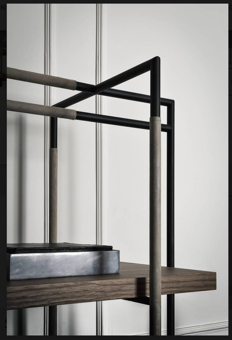 Italian Bak Bookcase by Ferruccio Lavi in Walnut, Steel and Leather in Various Colors For Sale