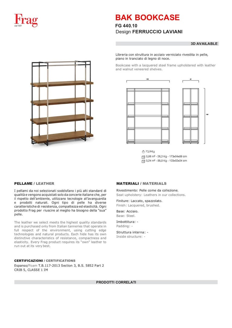 Bak Bookcase by Ferruccio Lavi in Walnut, Steel and Leather in Various Colors For Sale 1