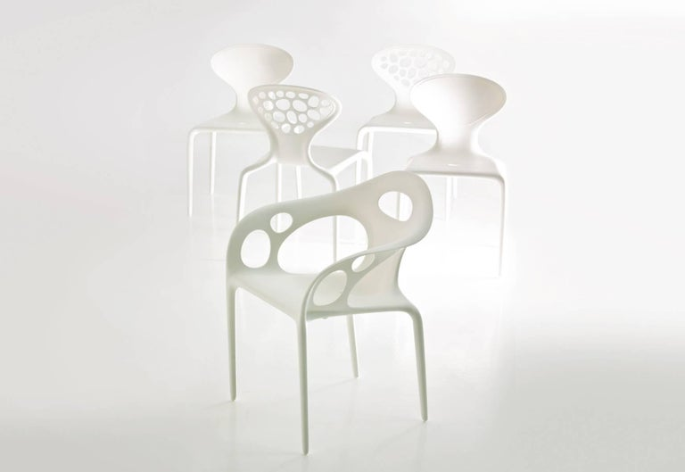Italian Set of Four Moroso Supernatural Chairs in Black/White for Indoor and Outdoor Use For Sale
