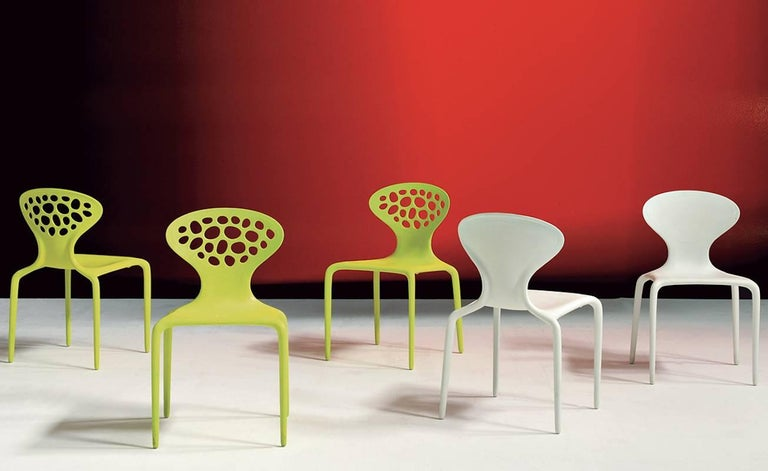 Plastic Set of Four Moroso Supernatural Chairs in Black/White for Indoor and Outdoor Use For Sale