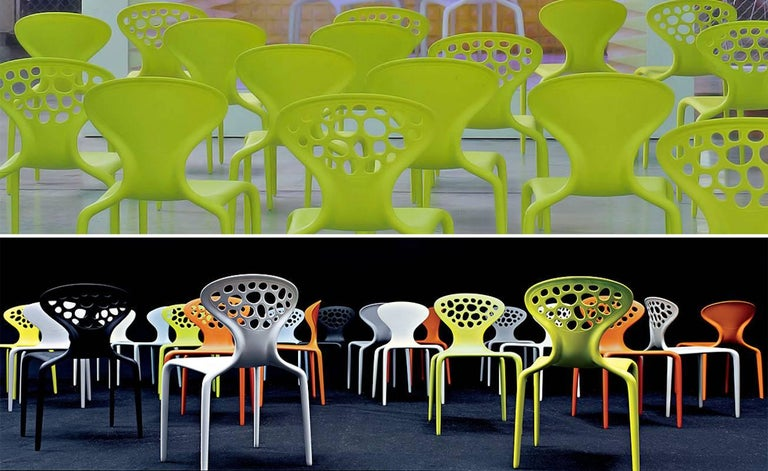 Contemporary Set of Four Moroso Supernatural Chairs in Black/White for Indoor and Outdoor Use For Sale