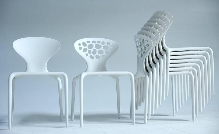 Modern Set of Four Moroso Supernatural Chairs in Black/White for Indoor and Outdoor Use For Sale