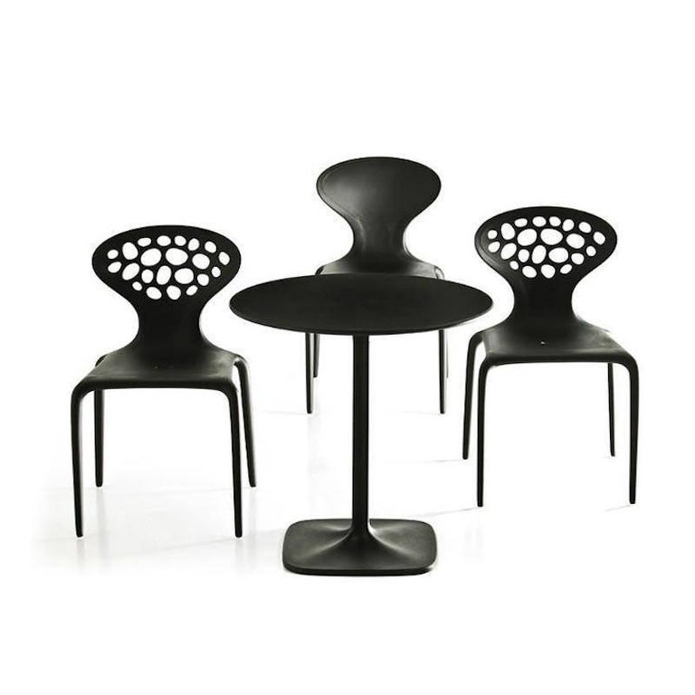 Molded Set of Four Moroso Supernatural Chairs in Black/White for Indoor and Outdoor Use For Sale