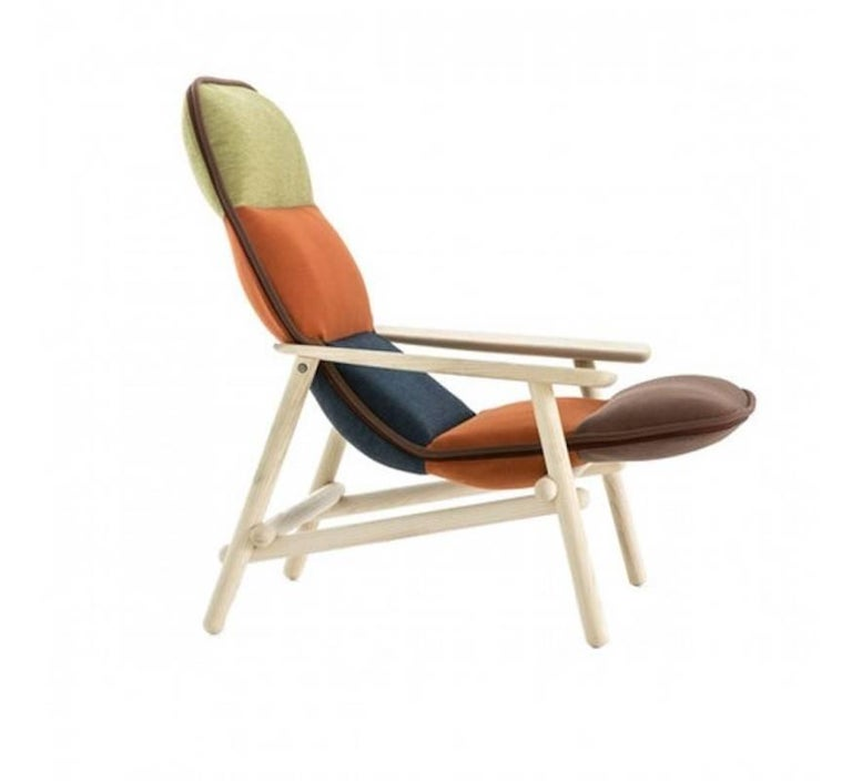 Quilted Moroso Lilo Lounge Chair by Patricia Urquiola in Multi-Color Fabric & Solid Wood For Sale