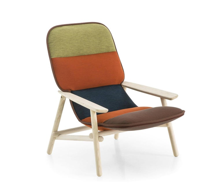 Modern Moroso Lilo Lounge Chair by Patricia Urquiola in Multi-Color Fabric & Solid Wood For Sale