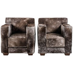 Pair of Luxury Armchairs, Pony Upholstery