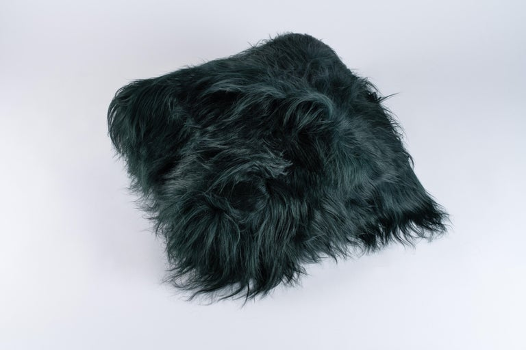 Wonderful pillow. Exclusive fabric, Maison images d'Epinal Dyed bottle green sheepskin. Feather cushion.